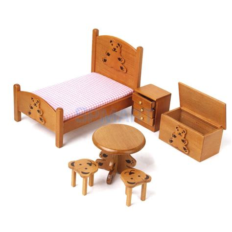 childrens wooden bedroom furniture dollhouse miniature furniture wooden childrens bedroom set