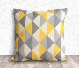 Yellow And Grey Cushions Yellow Grey Geometric Cushion For The Home