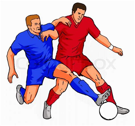 two player soccer 2 players tackling the stock photo colourbox