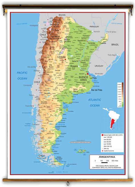 argentina physical map argentina physical educational wall map from academia maps