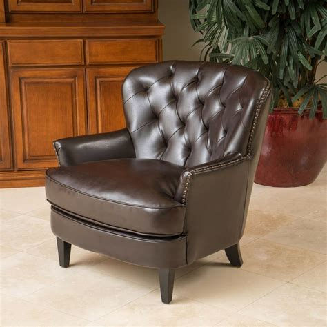 leather club chairs living room furniture brown tufted leather club chair w