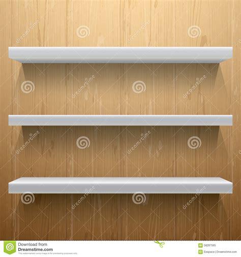 scaffali bianchi scaffali bianchi su fondo di legno illustrazione
