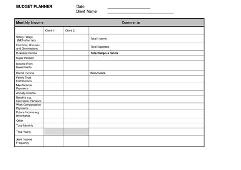 template for free budget planner template free free business template