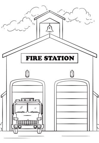 Fire Station Coloring Page Free Printable Pages Of We