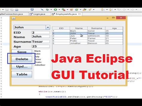gui tutorial java youtube java eclipse gui tutorial 13 how to refresh jtable after