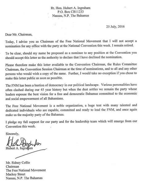 Decline Nomination Letter Ingraham Issues Letter To Decline Any Nomination At The Fnm Convention And May Join Dr Minnis