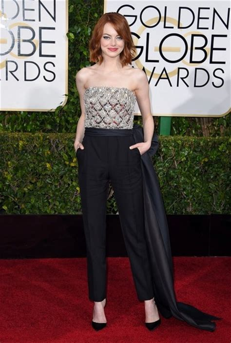 emma stone jumpsuit best dressed from the 2015 golden globe awards red