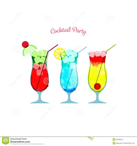 cocktail illustration vector illustration of watercolor cocktail party poster