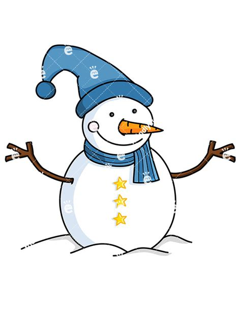 snowman clipart snowman wearing blue hat and scarf