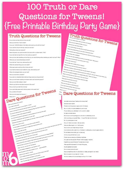 Or Question And Dares 100 Or Questions For Tweens Free Printable Birthday Momof6