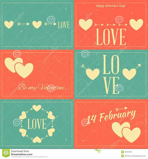 retro cards vintage valentines day cards stock vector illustration