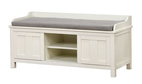white storage bench for bathroom
