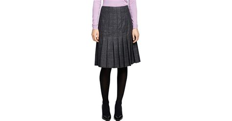 brothers saxxon wool pleated skirt in gray lyst