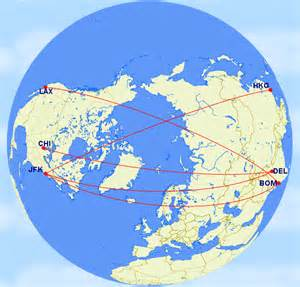 us flight distance map why do flights from india to usa not travel via the