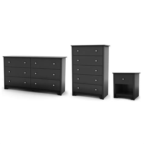 south shore breakwater chest nightstand set black