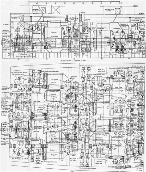 reves room diagram william mary plan and elevation of the queen mary s engine rooms ship
