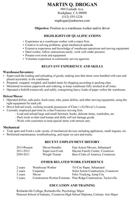 Resume Exles For Warehouse Worker Resume Sle Warehouse Worker Driver