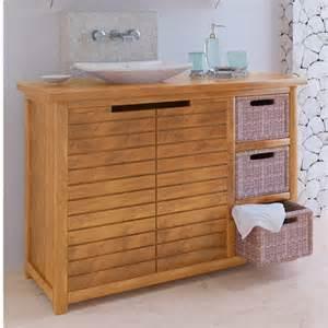 meuble bas de salle de bain teck sumatra