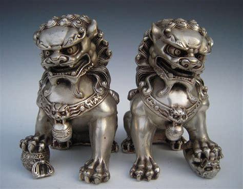 foo dogs antique silver guardian foo fu door guard