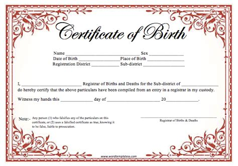 birth certificate template for word birth certificate template word templates