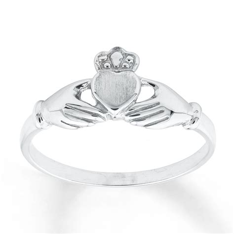 jared claddagh ring 14k white gold