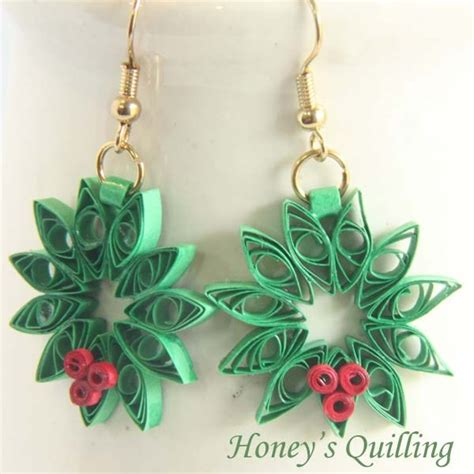 tutorial quilling christmas tutorial paper quilling christmas wreath earrings and