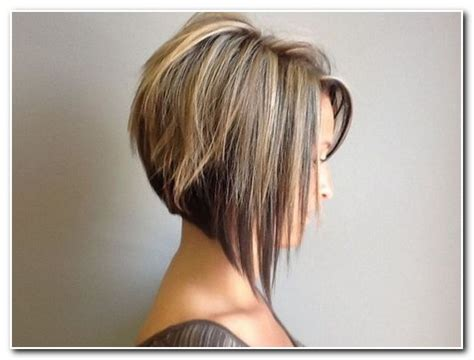 bob haircuts shorter in back longer in front that have long whisps in back and short in the front