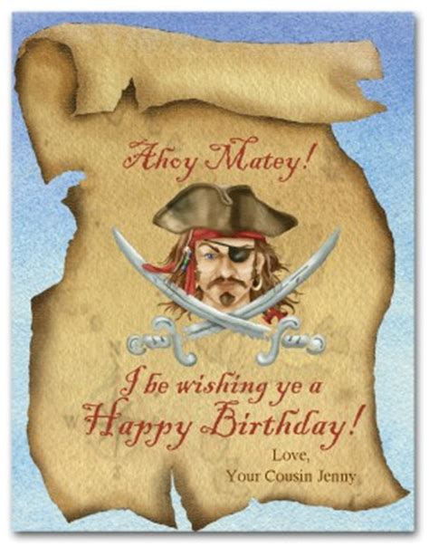 Pirate Birthday Card Template by Printable Pirate Birthday Card Template