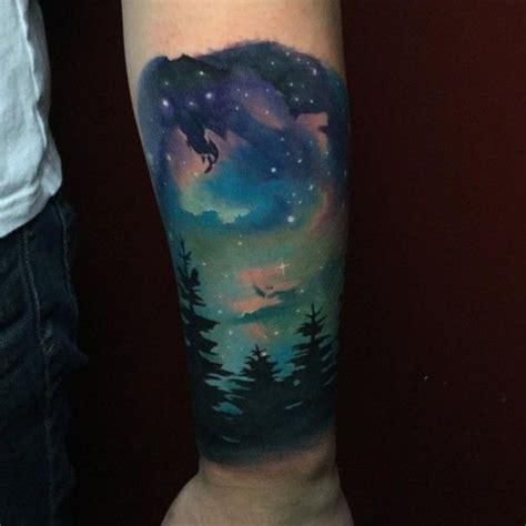 diamond tattoo aurora night sky tattoo landscape tattoos pinterest night