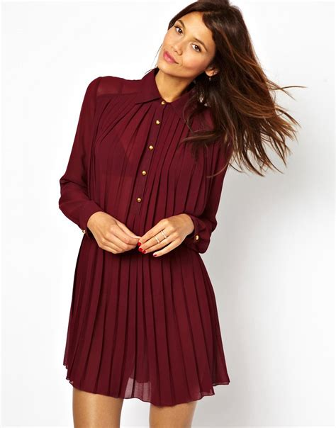 pleated swing dress tfnc tfnc pleated swing shirt dress at asos