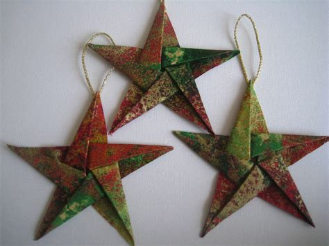 Origami Tree Decorations - fabric origami tree ornaments set