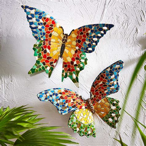 mosaic decorations for the home home set of 2 mosaic effect butterfly wall decorations