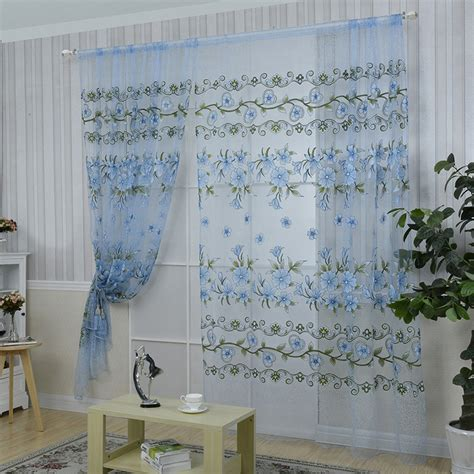 Blue Green Sheer Curtains Sheer Curtains With Embroidered Flowers Image Of Design Blue Sheer Curtains Floral With Flowers