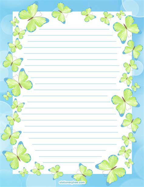 printable paper no watermark printable butterfly stationery