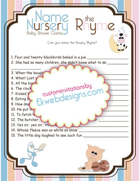 Nursery Rhymes Baby Shower by 7 Best Images Of Name That Nursery Rhyme Printable Baby