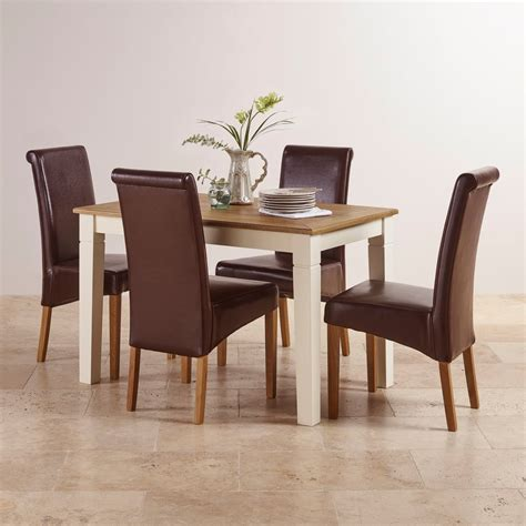 Painted Oak Dining Table And Chairs Shutter Small Dining Set With 6 Brown Leather Chairs