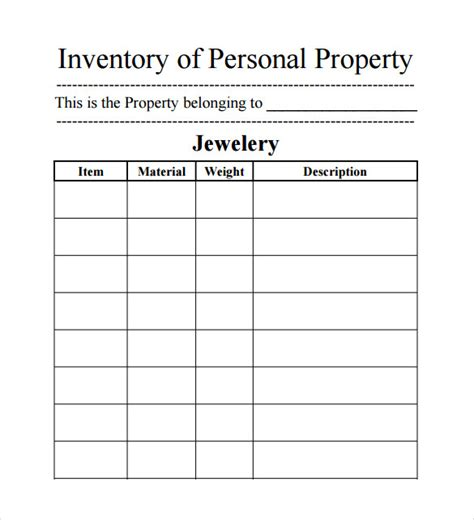 Jewelry Inventory Spreadsheet Free Onlyagame Inventory Template Pdf