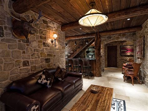 cave cabin with wall mount tv family room rustic and