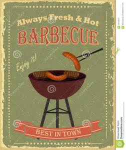 vintage barbecue party poster stock vector image 59124615