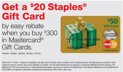 Staples Gift Card Rebate - staples 20 gc rebate on 300 in mastercard gift cards frequent miler