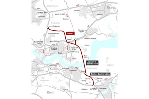 lower thames river map new tunnel proposed as alternative to dartford crossing