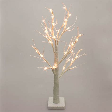 pre lit brown snowy paper twig tree 125cm with 48 warm