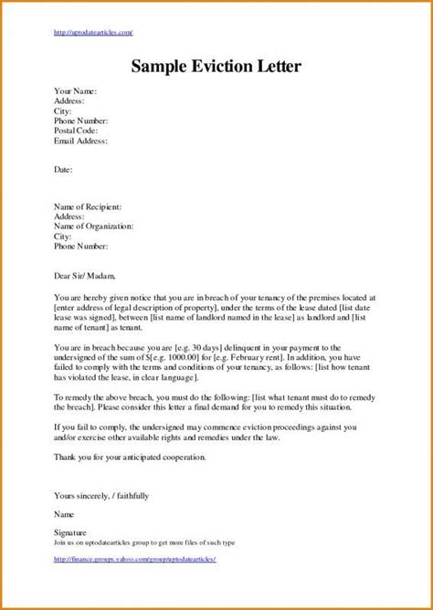 eviction letter template letter templates lettering