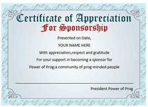 sponsorship certificate template 12 certificates of appreciation for sponsorship