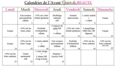 Remplir Calendrier De L Avent Homme Calendrier De L Avent Institut Grain De Beaut 233 Soins
