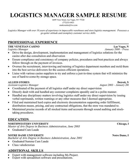 logistics manager resume sle sle warehouse resume 28 images warehouse and