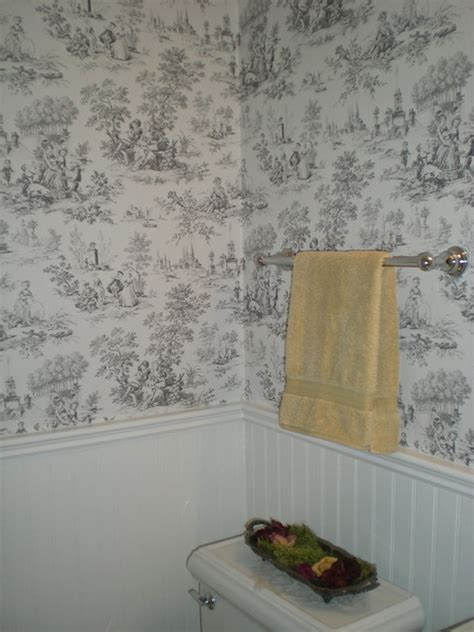 black and white toile wallpaper bathroom vintage style powder room beadboard and toile wallpaper