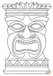 Tiki Mask Coloring Page  Pages For Kids And Adults sketch template