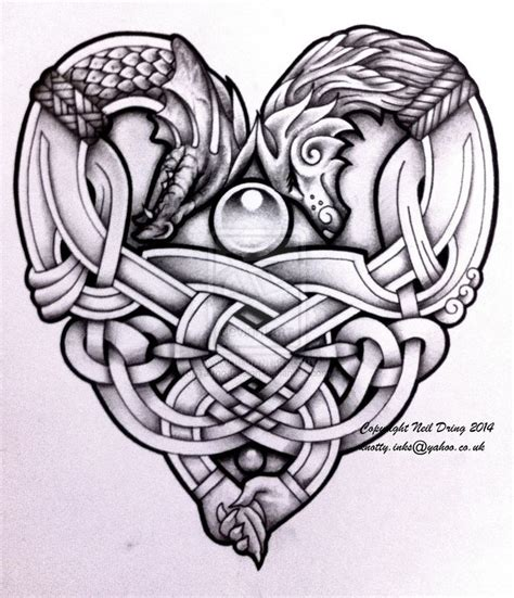 celtic dragon tattoo design embracing wolf and design drawing ideas