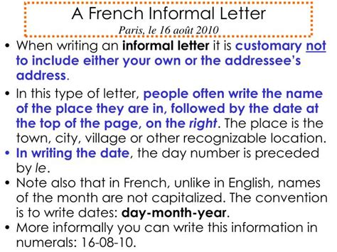layout of a french informal letter ppt a french informal letter paris le 16 ao 251 t 2010